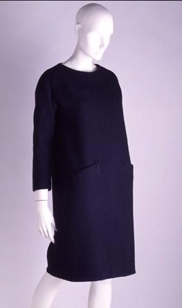 Black wool sack dress 1959-60