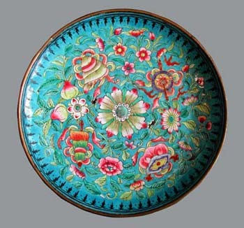 Assiette en mail turquoise