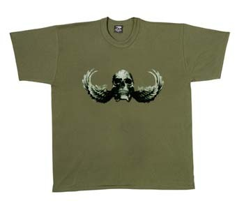 Military T-Shirts Skull Wings Olive Drab T-Shirt