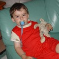 Pyjama rouge avec bord des manches Babar tissus Myrtille