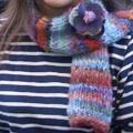 écharpe & fleur en laine et en feutre