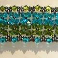 Traversine bis ; quadrille bleu/vert