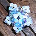Bague étoile de mer - bleu , white opal.