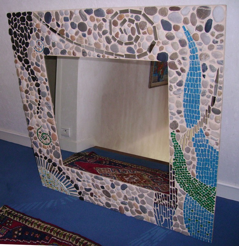 Pin miroirs vitrail on pinterest for Miroir galet