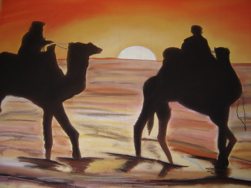 Atardecer en el desierto. Tombée du jour au désert