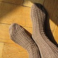 Cable toe-up socks