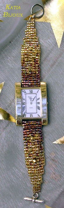 Bracelet de montre (tissage point carré à 2 perles)