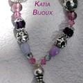 Bracelet métal - perles indiennes - verre