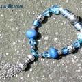 Bracelet sur élastique métal-perles marocaines-verre de Bohême