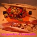 Ratatouille en rouleaux de jambon cru