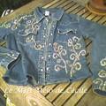 veste en jean brodée de fil doré, paillettes et perles (customisation maison)