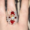 bague princesse couleur rubis et diamant