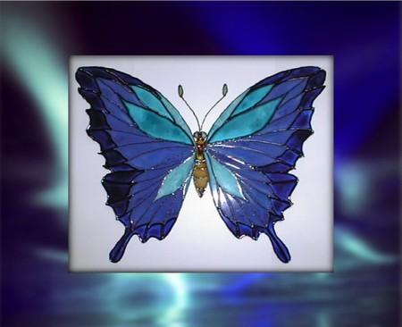 le papillon bleu photo de peinture vitrail parfum d 39 anges. Black Bedroom Furniture Sets. Home Design Ideas