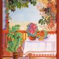veranda fleurie en été