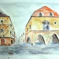 janvier: aquarelle, bastide en Dordogne