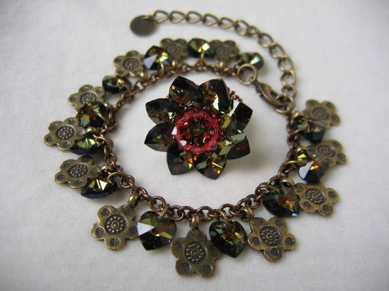 Parure bracelet et bague nénuphar, cristal tabac et bronze