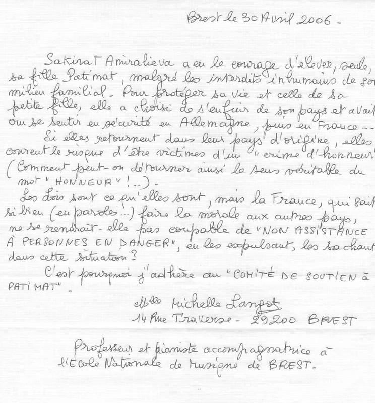 LE 30 AVRIL LETTRE DE SOUTIEN DE Mlle MICHELLE LANGOT