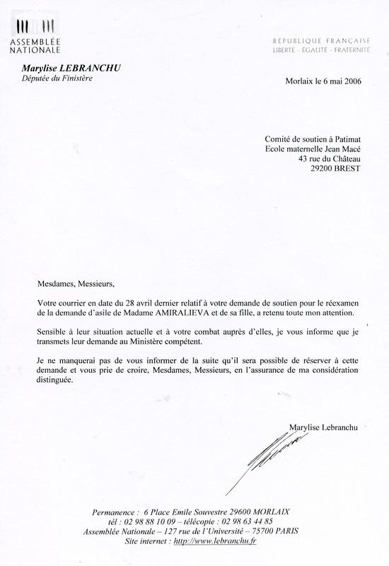 LE 6 MAI Mme LA DEPUTEE DU FINISTERE MARILISE LE BRANCHU