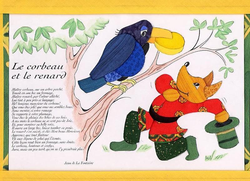 Le corbeau et le renard photo de incrustations de tissus tewee - Coloriage le corbeau et le renard ...