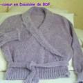 Cache-coeur (modèle Bibi) en Doussine de BDF tricoté à la machine