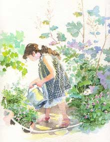 aquarelle_de_michel_charrier__fille_arrosoir