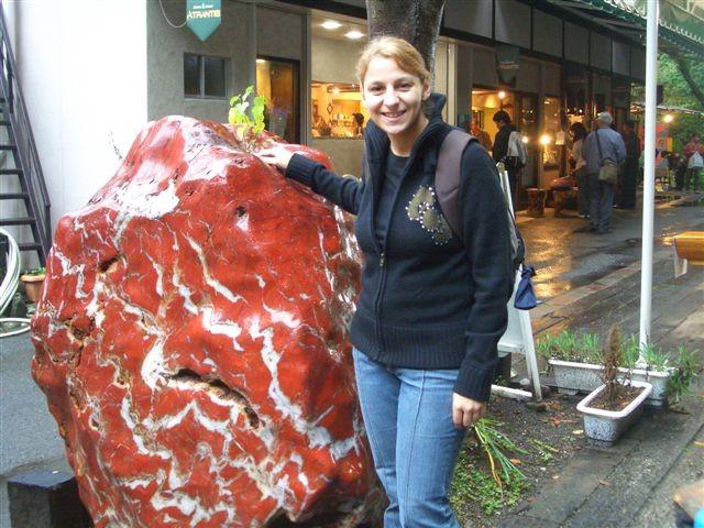 une grosse pierre rouge