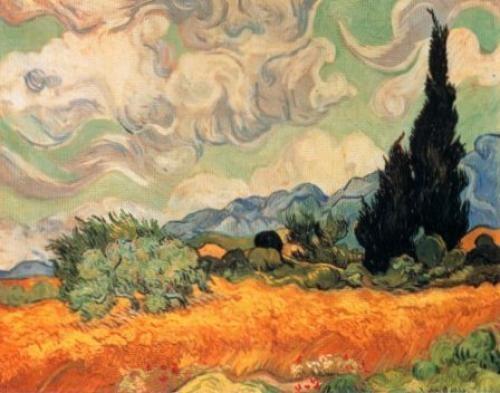 Vincent Van Gogh - Campo-di-grano-con-cipresso -1889