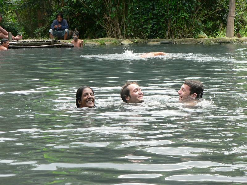 Dans la lagune d'eau souffree