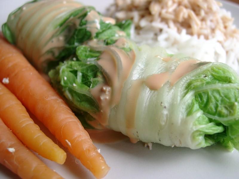 feuilles de chou chinois farcies au tofu et au gingembre - blogbio