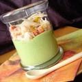 verrine de crème de roquette aux poires et crabe