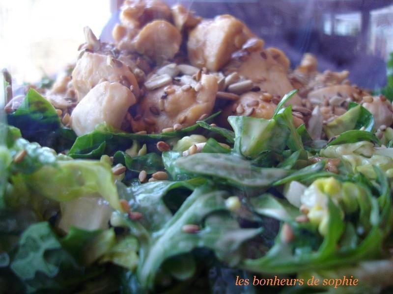 Salade de pousses d'épinard et poulet caramélisé latéral
