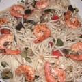 spaghettis crevettes légumes
