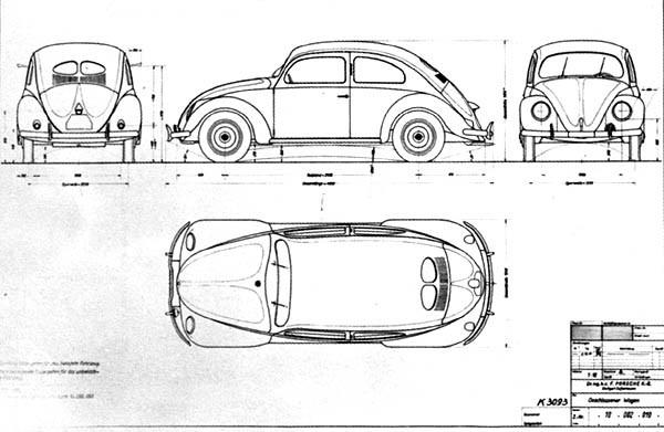 Plan And Elevation Of Car : Planche de designer kdf wagen c o i m a n