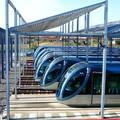 Rames de tramway dans le dépôt de La Bastide à Bordeaux