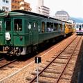 Train Torokko de Takachiho railway en gare de Nobeoka