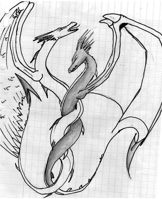 Noir et blanc dragons en perm mes dessins - Dessin ange noir et blanc ...