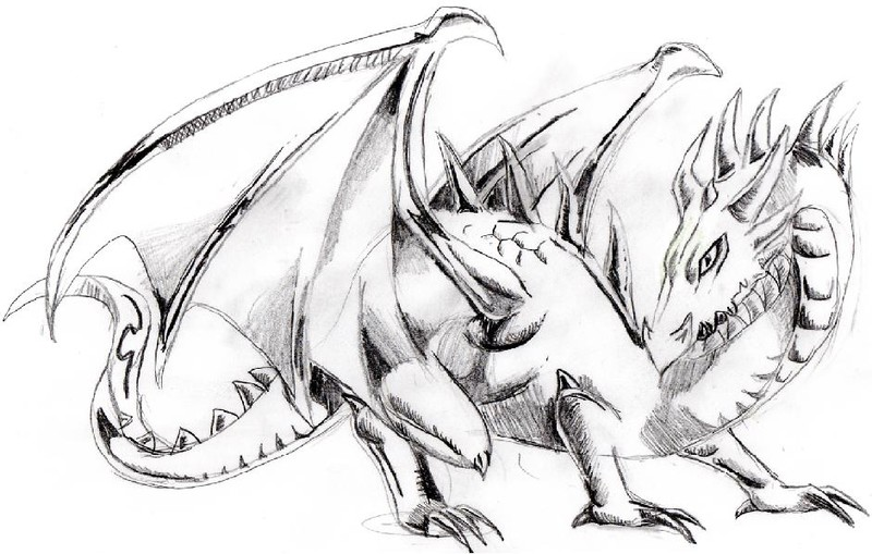 Noir et blanc dragon mes dessins - Dessin un dragon ...