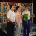 la gagnante du trophée du fair-play Katerina Ananina, avec le président du VCT et la représentante de la ligue de badminton, Madame Danièle Mijoule