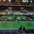 Le double homme Français, Sébastien Vincent et Baptiste Careme, qui mènent la partie à ce moment, contre l'équipe russe (belle phase de jeu, prise au flash)