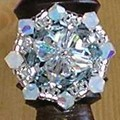 Bague galette - indian blue , cristal.