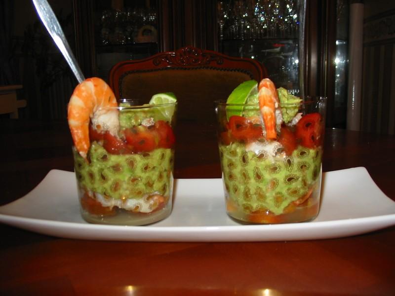 Verrine de guacamole aux crevettes