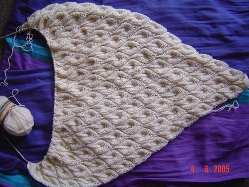 candle flame shawl 2ème étape