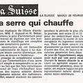 Diplôme - article dans le quotidien La Suisse