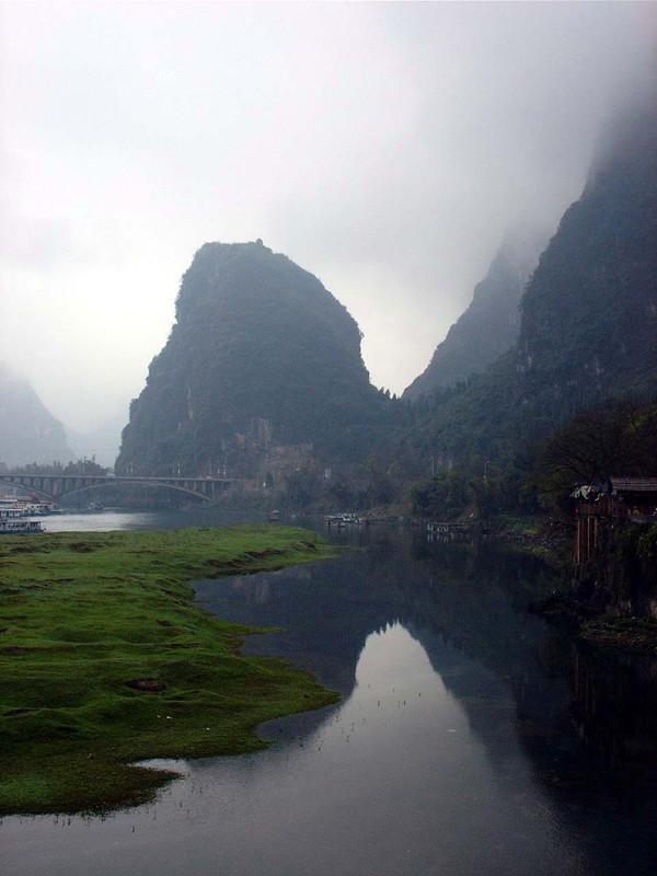 Fog on Yangshuo mountains
