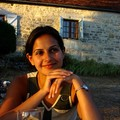 Enjoying sunset with a glass of wine