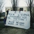 Bordeaux-HAC février 1996 : banderole en hommage à JP Delaunay