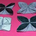origami textile - bleus - relief