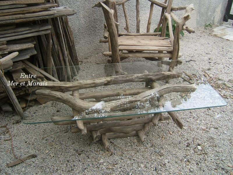 Entre mer et marais l 39 atelier d 39 elise - Table basse bois flotte ...