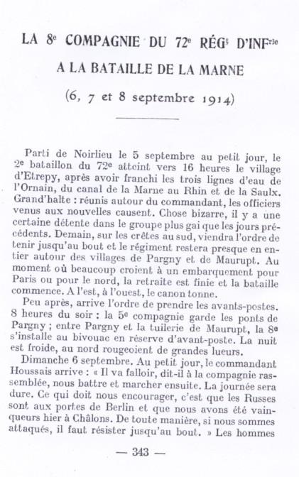 La 8ème Cie du 72ème RI dans les combats de la Marne