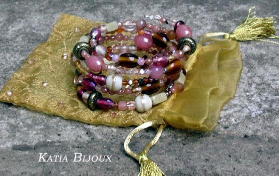 Bracelet memory vieux rose et beige